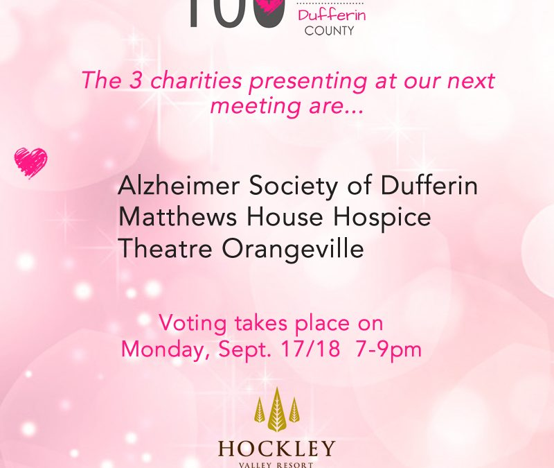 Announcing the 3 Presenting Charities for Sept 17/18