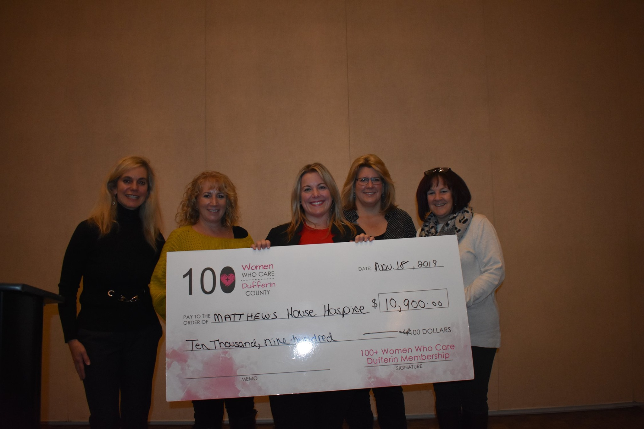 Big Cheque for Matthews House Hospice